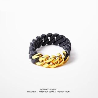 以色列潮牌Rubz粗麻花古巴鈦鋼環保硅膠能量運動撞色情侶手鏈手環