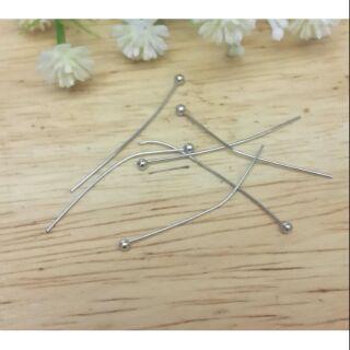 【DIY】25/30mm白K色  銅球針 圓頭針 【15元】