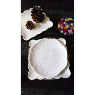 純白法式浮雕蕾絲花邊水果蛋糕點心甜品盤