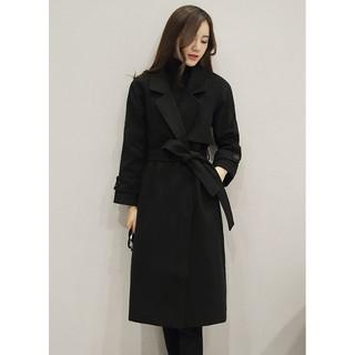 黑色S-XL-現貨+預購秋裝女款女生衣著韓版毛呢中長款大衣,韓國學生都這樣穿/冬天衣服蝦皮商城/正韓 上衣