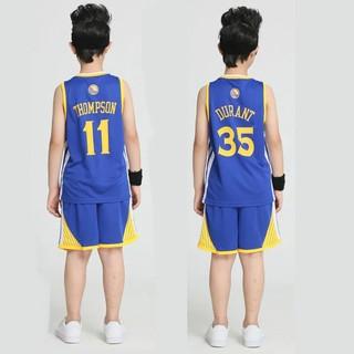 兒童籃球服套裝 勇士Curry,Thompson,Durant球衣 訓練球衣 小學生幼兒園班服
