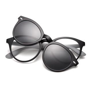 韓版圓框超輕眼鏡框女磁鐵套鏡近視開車專用偏光太陽鏡夾片套鏡3