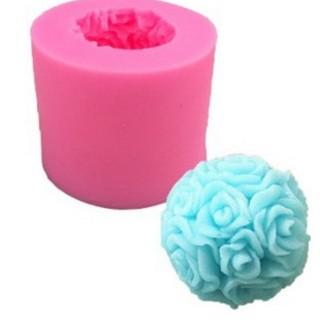 立體3d 單孔大花束玫瑰花球硅胶翻糖蛋糕模具 肥皂蠟燭模具巧克力