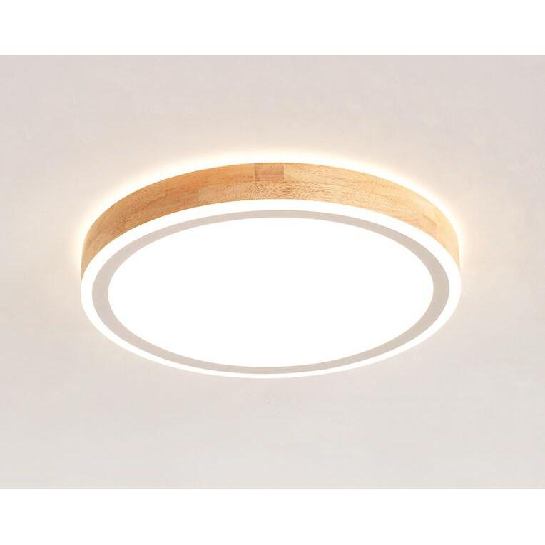 無極調光遙控LED吸頂燈北歐家用原木led主臥室燈現代簡約圓形餐廳書房雙層發光客廳燈具