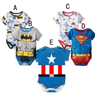寶寶爬服哈衣嬰兒爬服新生兒哈衣短袖 包屁衣美國隊長超人蝙蝠俠短袖包屁衣男童英雄系列 復仇