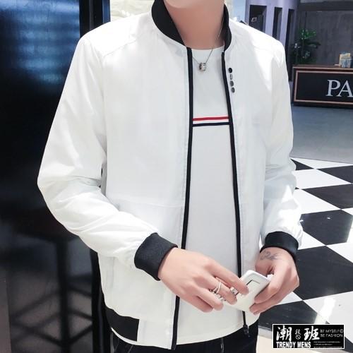 『TRENDY』韓版 加大碼 M-4L 配色防風風衣材質外套夾克圓領棒球外套【HJ000H56】