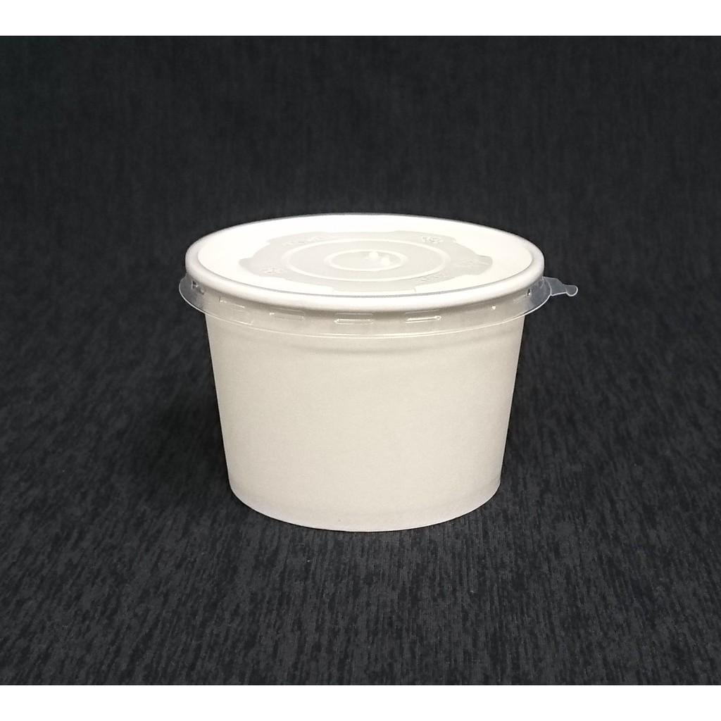 600組【全白 750湯杯+蓋】白色紙碗 紙湯杯 紙湯碗 麵碗 紙餐盒 紙便當盒 免洗碗 晶得閒