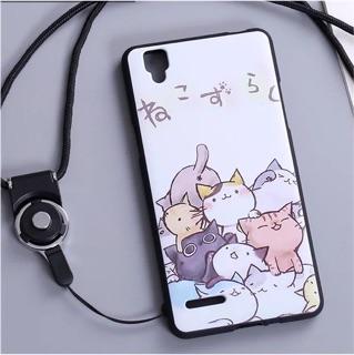 ❤️~怡媗小舖~❤OPPO F1手機殼貓咪軟殼掛繩保護套