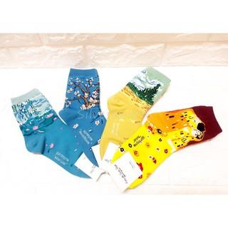 『Silversmith』韓國襪☄名畫系列 杏花盛開 睡蓮 麥田裡的絲柏樹 克林姆吻 百搭款 長襪 中長筒襪 休閒襪