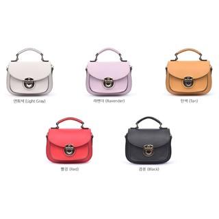 預購/2月韓國連線---ROOTY 扣式 手提 斜背 方包/淺灰、薰衣紫、駝、紅、黑