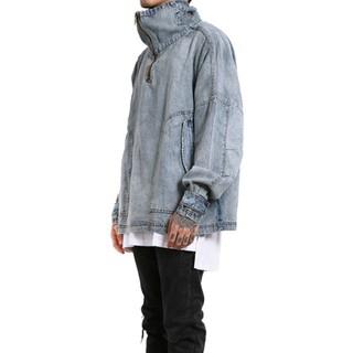 NHJC ®品牌訂製2002 水洗牛仔高領半拉鍊套頭OVERSIZE 寬鬆版型上衣MLXL