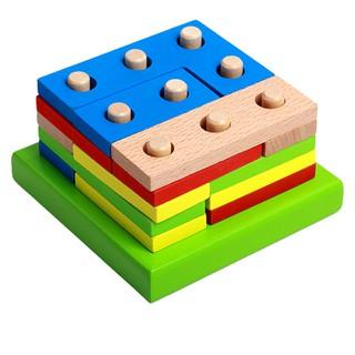 木制拼裝幾何形狀積木益智力玩具智力幾