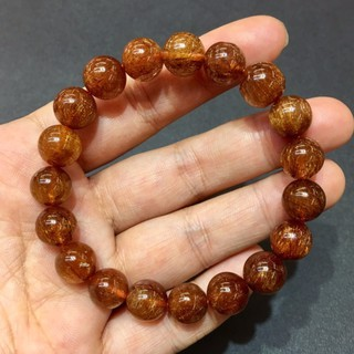 [天祥水晶]~天然紅鈦晶紅銅鈦手珠手鍊10.5mm圓珠~
