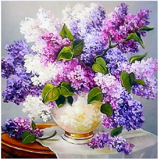 紫色花瓶DIY 貼鑽薰衣草臥室鑽石十字繡 花卉鑽石畫