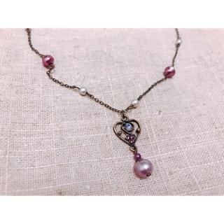 美人魚珍珠寶石愛心項鍊(銅色練)