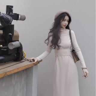 NING shopchic氣質秋冬高領收腰設計長洋裝
