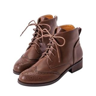 Grace gift後v英倫牛津雕花短靴
