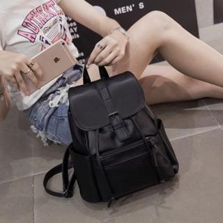 ~ ~ 休閒簡約雙肩包韓系百搭PU 軟皮女士背包 旅行包皮帶飾條束口後背包學生書包
