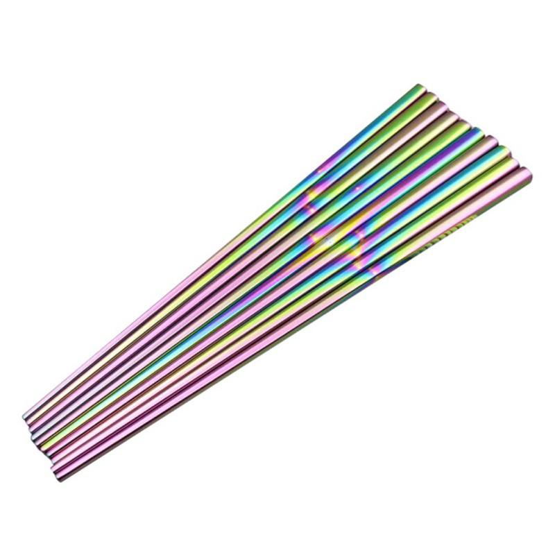 1雙 不銹鋼度鈦 金筷子 彩色 環保食用 餐具筷子