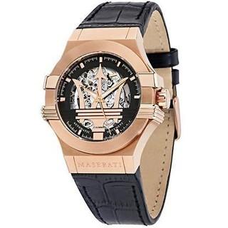 美國代溝正品MASERATI 瑪莎拉蒂 手錶 機械錶 42mm 鏤空 玫瑰金 R8821108002
