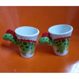 小恐龍陶瓷對杯/造型蛋糕點心杯