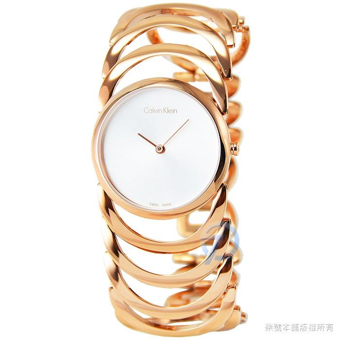 【柒號本舖】CK Calvin Klein Rose Golden 時尚鏤空手環錶-玫瑰金 # K4G23626