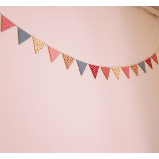 棉布掛條三角旗 手作 野餐露營三角旗 /生日派對 / 婚禮佈置裝飾用品 番玉手作