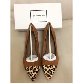 [日本帶回]RANDA 駝色豹紋麂皮中跟鞋 25.5