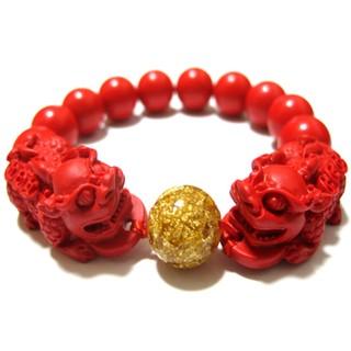 開光紅朱砂貔貅手鏈男女款佛珠手串金箔招財轉運本命年情侶款飾品
