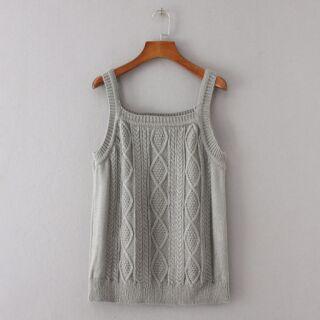 女裝方領套頭麻花無袖毛衣針織背心(三色)