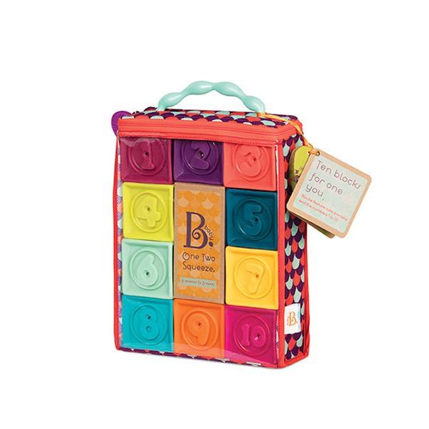 【紫貝殼】美國B.Toys感統玩具- One Two Squeeze 123捏捏樂(芽綠) .轉積木 6+