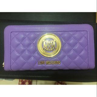真品正品 LOVE MOSCHINO 淺紫色真皮LOGO菱格五層多卡層ㄇ形拉鍊長夾