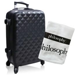 【美麗購】philosophy 享受旅行經典黑色行李箱送浴巾-白色