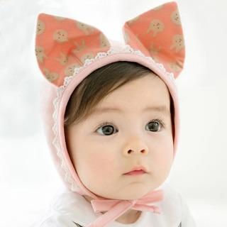 寶寶兔耳花邊護耳帽