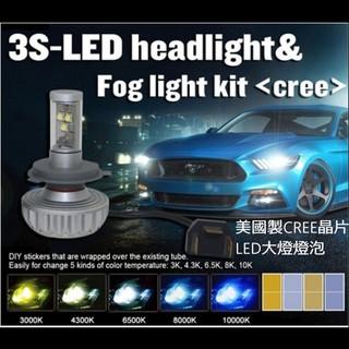 美國CREE晶片 LED大燈燈泡無風扇防水蓋可蓋 H4 H7 9005 9006 H8 H9 H11 H16