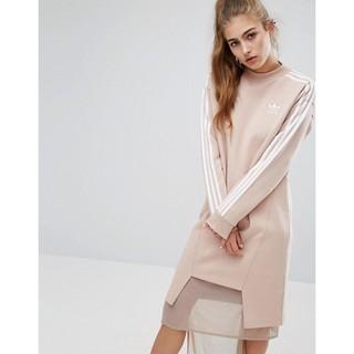 Adidas Originals INFO POSTER 2017專櫃正品 愛迪達裸色珍珠色不規則長版洋裝大學T