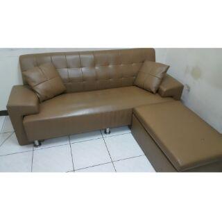 便宜賣~L型獨立筒乳膠皮沙發(腳凳有收納空間)