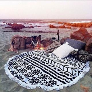 泳裝之家%23出口高陽圓形流蘇沙灘巾裹裙披肩超細纖維印花圓形多功能用法