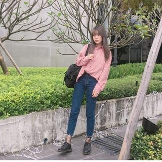 粉紅韓國格子襯衫