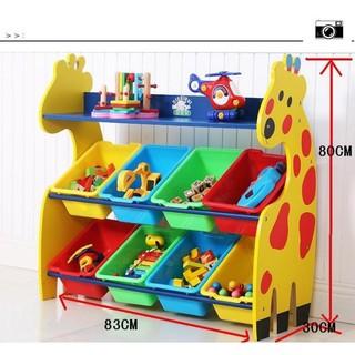 木製長頸鹿玩具收納架小鹿玩具收納架玩具整理架兒童玩具收納櫃箱收納盒新品