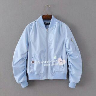 春夏甜美淺藍飛行外套