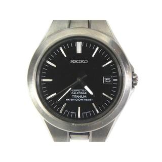 [專業模型] 萬年曆錶 [SEIKO 000029] 精工-時尚萬年曆+鈦合金錶-[黑色面]/中性/運動/指針/軍錶
