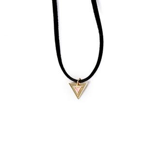 【我們woman】極簡約雙三角型麂皮頸鍊/三角形/個性/皮繩/項鍊/頸鍊/短鍊