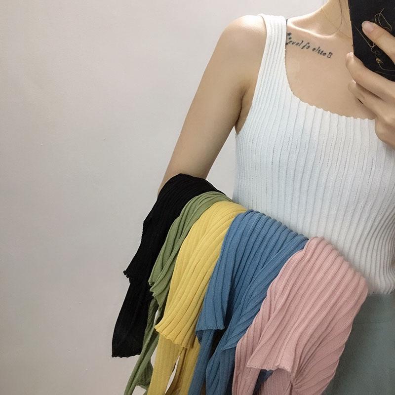 2019夏季新款韓版簡約百搭無袖純色修身針織背心女生上衣
