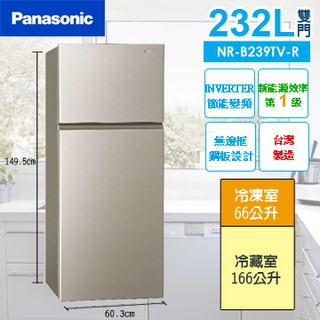 Panasonic 國際牌 232公升 變頻 雙門 冰箱 NR-B239TV-R