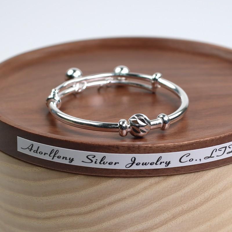 寶寶手環 彌月禮 925純銀手環 吊珠 圓球 可調大小 銀飾