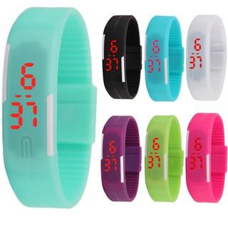 戶外 LED 電子 手環手錶糖果色兒童學生手錶情侶手錶防水腕錶果凍色手錶LED 發光