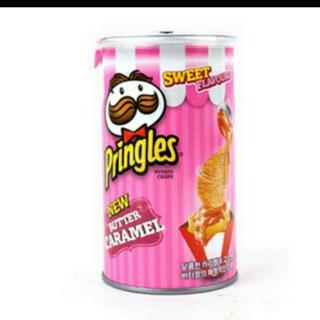 韓國限定 粉紅色品客 洋芋片 焦糖奶油口味 小罐裝