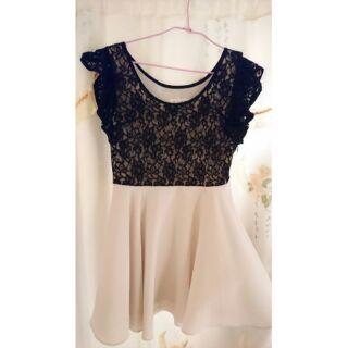 黑色蕾絲雪紡洋裝