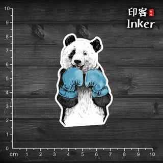 【行李箱防水貼紙】  #551 拳擊熊貓 熊貓 貓熊 惡搞 可愛